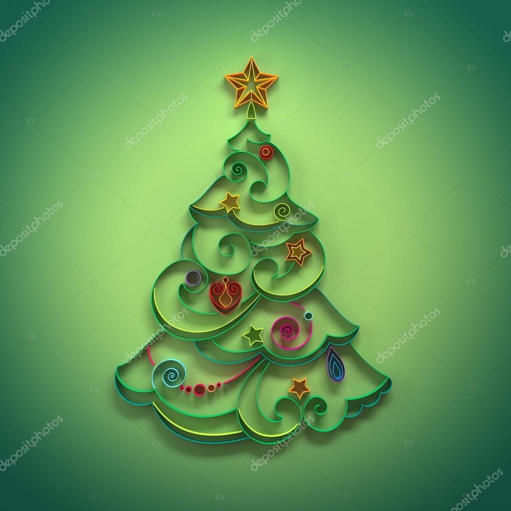 Paper quilling Christmas tree decoration greeting — Stock Photo ...