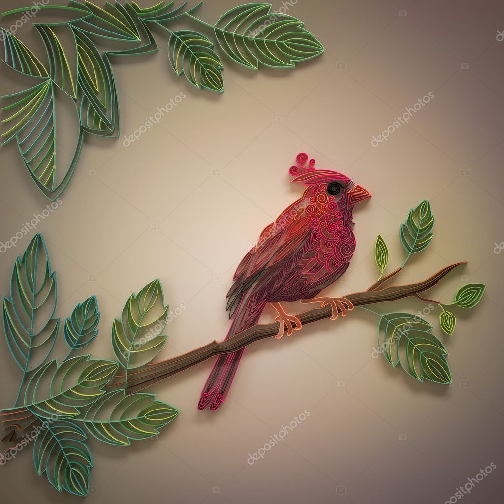 Download - Red paper quilling cardinal bird decorative card background ...