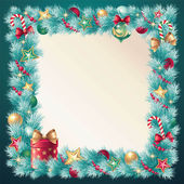Vintage Christmas decorative coniferous frame banner — Stock Vector