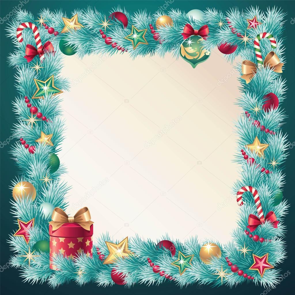 复古圣诞装饰针叶林框架横幅