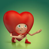 Funny red heart cartoon proposal. Valentine Day greeting card — Stock Photo
