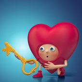 Funny amazed 3d Valentine heart cartoon holding key. Valentine Day greeting card — Stock Photo