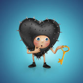 Funny cute kinky black heart cartoon holding golden key — Stock Photo