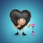 Funny kinky playful black heart cartoon holding furry pink handcuffs — Stock Photo