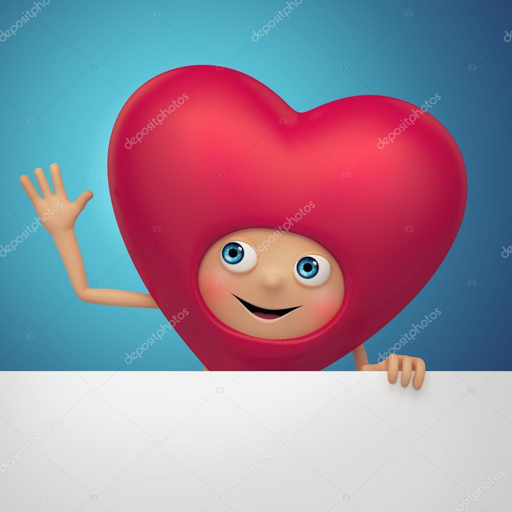 Happy Valentine Day heart holding banner — Stockfoto #17866651