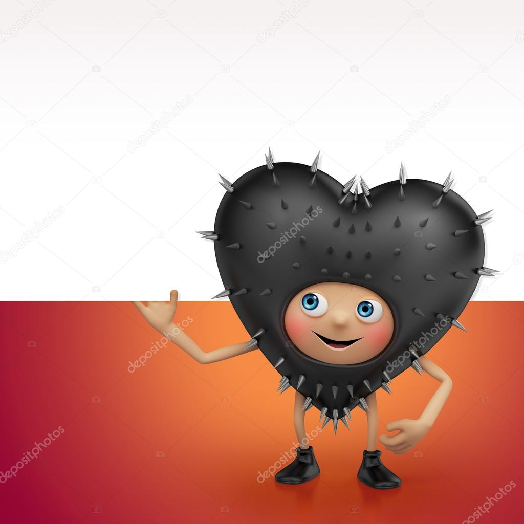Happy Valentine black heart cartoon character holding banner — Stock Photo #17866665
