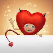 Funny red devil heart cartoon flirting — ストック写真