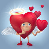 Cute red angel heart cartoon with halo and wings — Stock Photo