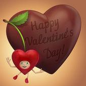 Zoete kers en chocolade hart. — Foto de Stock