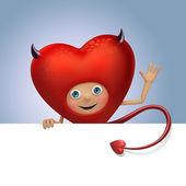 Curioso diablo rojo corazón dibujos animados coqueteando. — Foto de Stock