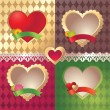 Vector Valentine heart label and ribbon tag set — Imagens vectoriais em stock