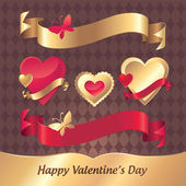 Vector red gold Valentine heart label and tag collection — Stock Vector