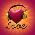 kulaklıklar ile 3D kırmızı valentine kalp — Stok fotoğraf