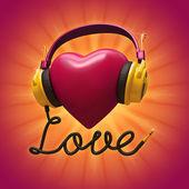 3d-rode valentine hart met koptelefoon — Stockfoto