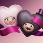 iki komik Sevgililer kalp karikatür — Stok fotoğraf