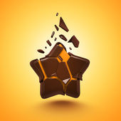 Abstract 3d chocolate candy star isolated — Stock Photo