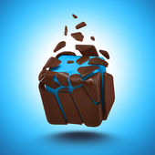 Abstract 3d chocolate cube candy isolated object — Foto Stock