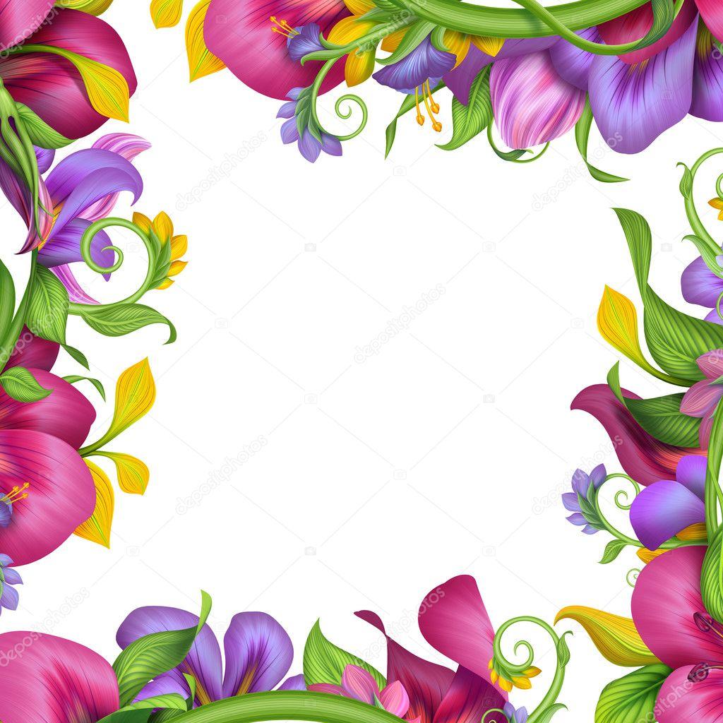 Tropical Flower Frame Stock Photo Wacomka 22741661