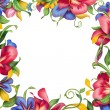 Tropical flower square frame — Stock Photo