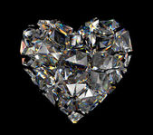 Broken brilliant crystal heart — Stock Photo