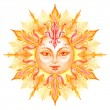 Decorative sun with face — Foto Stock