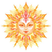 Decorative sun with face — Stock Photo