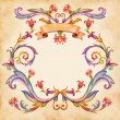 Vintage watercolor floral frame — Stock Photo