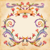 Vintage watercolor floral frame — Stockfoto