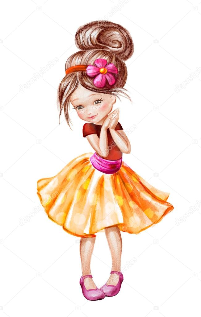 可爱的小女孩素描图