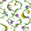 Natural border set with exotic flowers and leaves — Stock Photo #29813983