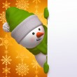 Cute funny curious snowman, 3d character holding blank page, hiding behind the corner — Stock Photo #30024205
