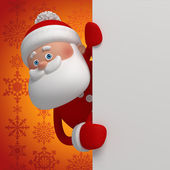 Cute funny 3d Santa Claus cartoon appearing from the corner — Stock Photo