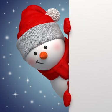 Cute funny snowman holding white page, 3d character, hiding behind the corner