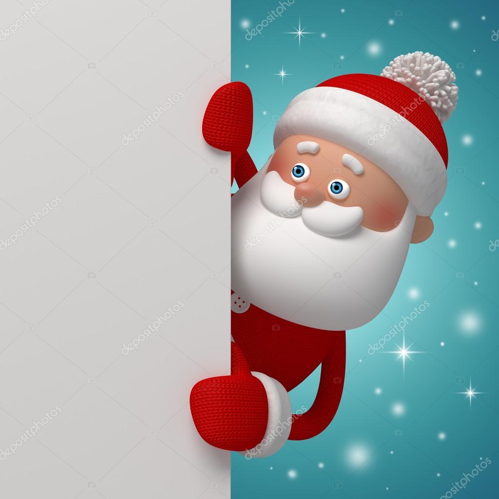 可爱有趣好奇的圣诞老人