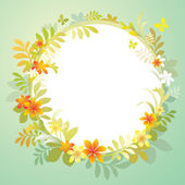 Frame with flowers and green leaves — Stock Vector