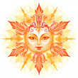 Ornate sun with face — Stock Photo