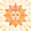 Ornate sun with face — Foto Stock
