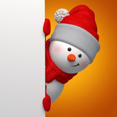 3d snowman holding blank Christmas banner — Stock Photo