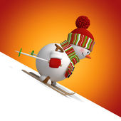 3d skiing snowman, blank Christmas corner — Stock Photo