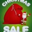 Christmas sale poster, Santa Claus with big red bag — Stock Photo