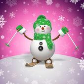 3d skiing snowman — Stock Photo