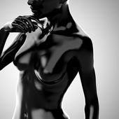 3d black woman body model — Stock Photo