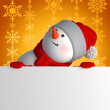 3d snowman looking up and holding blank page — Stock Photo #34217497