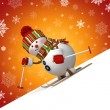 3d skiing snowman Christmas greeting card — Stock Photo