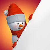 3d snowman holding Christmas banner — Stock Photo
