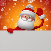 3d Santa Clause holding blank card — Stock Photo