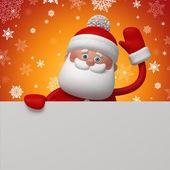 3d Santa Clause holding blank card — Stock Photo