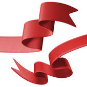 Red festive ribbons ends set — Stock Photo