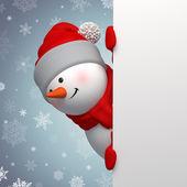 Biglietto di auguri di natale con pupazzo di neve — Foto Stock