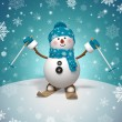 3d skiing snowman — Stock Photo